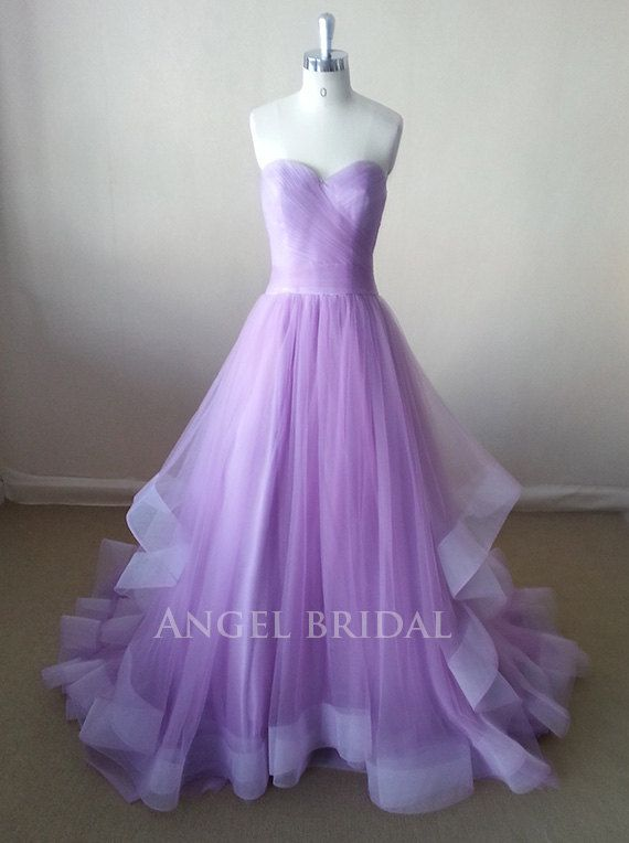 A Line Light Purple Tulle Evening Dress Evening Gown Evening