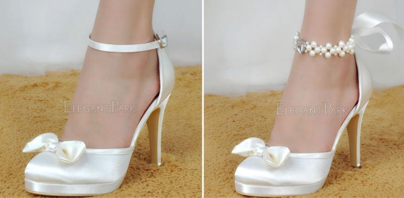 cf27b5906 Woman High Heel Wedding Shoes White Ivory Round Toe Platform Pearls Ankle  Strap Bow Satin Lady Prom Evening Bridal Pumps EP11074 #wedding shoes