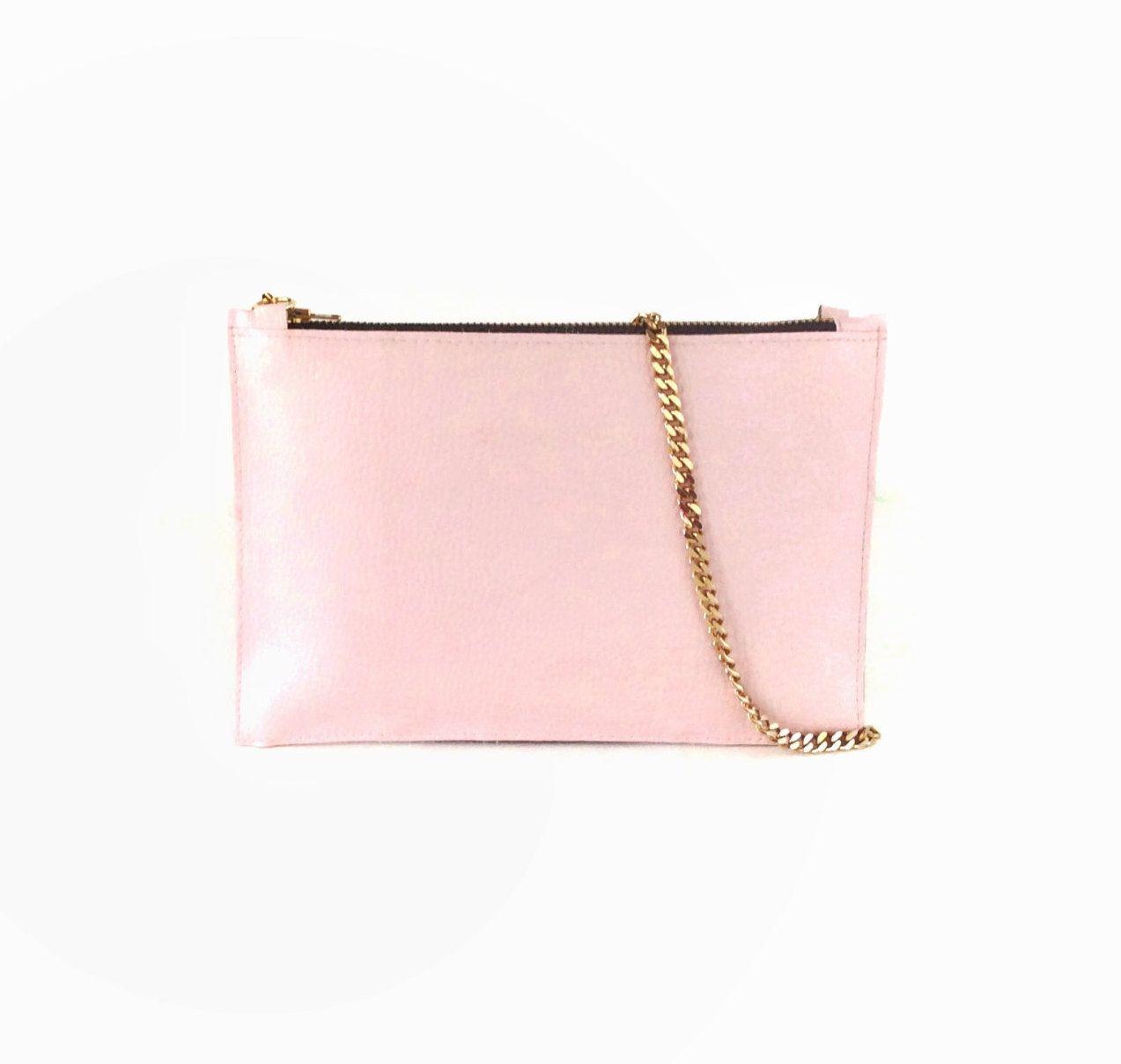 Rose pink small shoulder bag, pink clutch purse, vegan leather ...