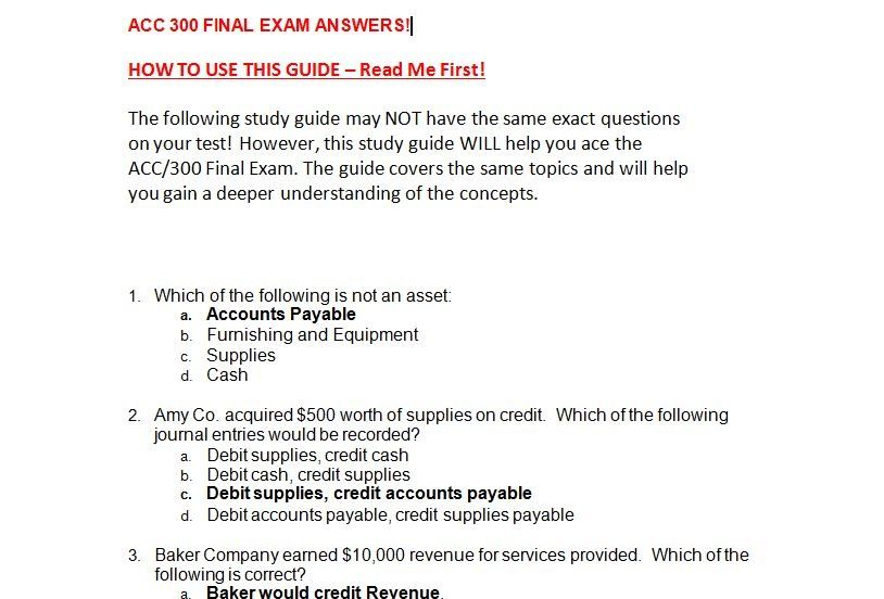 acc 400 final exam 100 Home» questions » accounting » financial accounting » journalize » acc 422 final exam / 100% correct answers lennon used the asset for 1,100 hours in the current year the activity method will be used for at december 31, 2008, the out-of-sight products division had a fair value of $3,400,000.