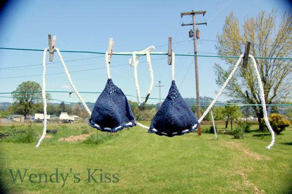 Knitted Bikini Top handknitted cotton navy blue by WendysKiss, $28.00