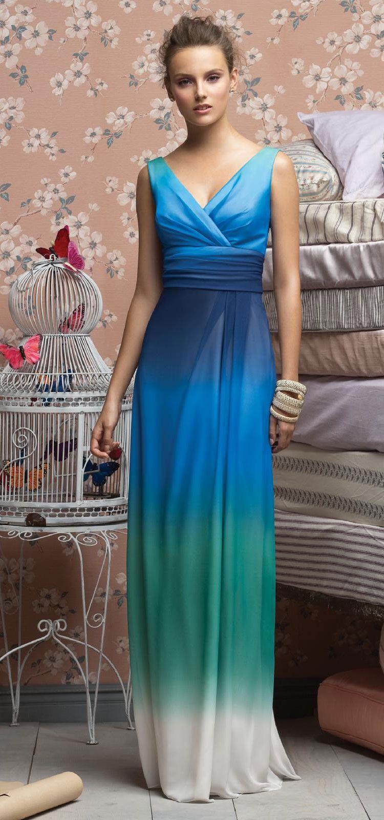 Wedding Attire: Pacific Blues Ombre Bridesmaid\'s Dress in a light ...