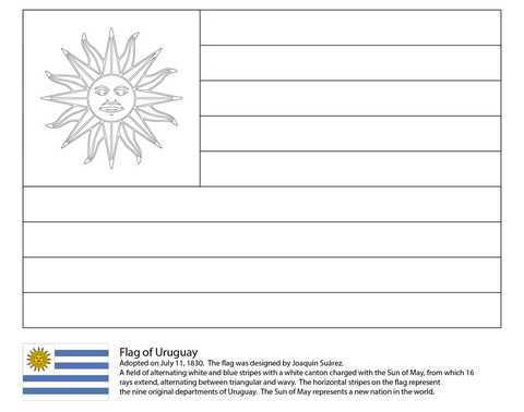 Uruguay Flag Coloring Page Flag Coloring Pages American Flag