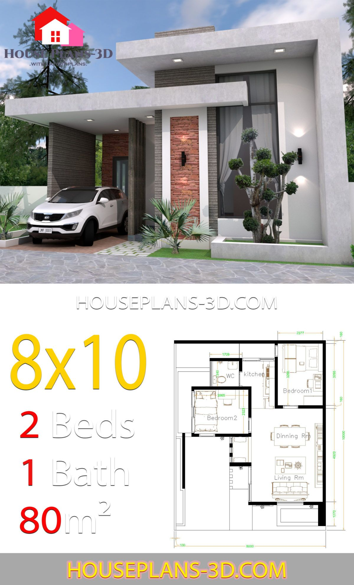 House Design 8x10 With 2 Bedrooms Terrace Roof House Plans 3d In 2020 House Outside Design House Construction Plan House Plans