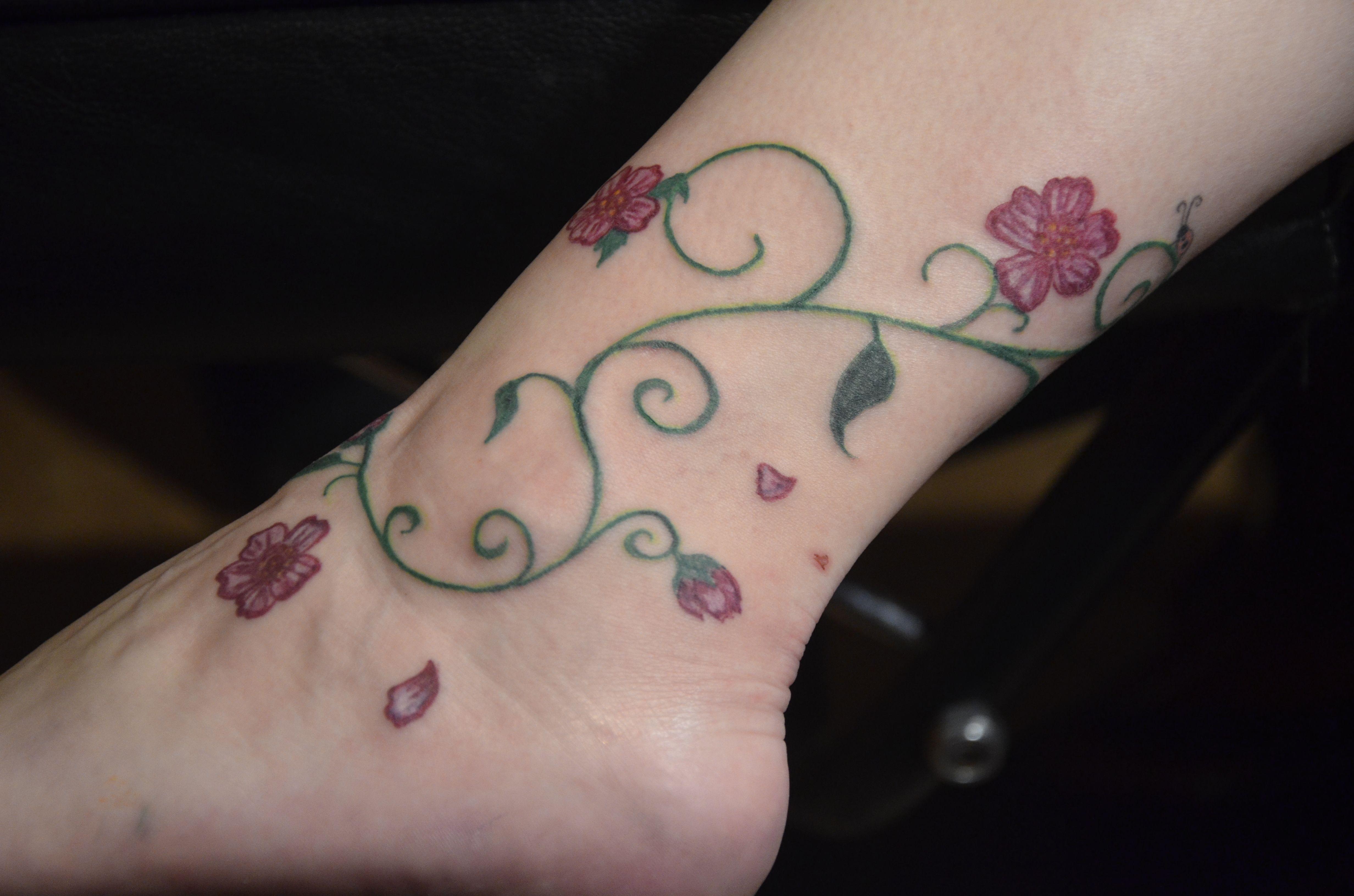 Rose Tattoo Around Wrist: Rose Vine Foot Tattoo Designs Rose