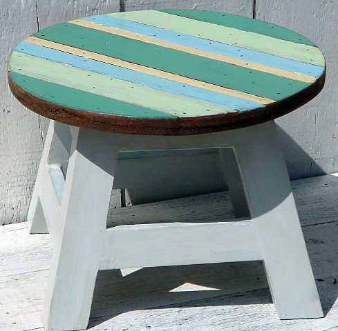 cute stool in ocean colors - perfect size for kids!