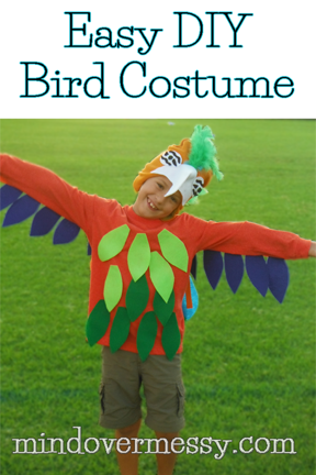 bad02e0245a This super easy costume uses hot glue and a snow hat to make a Macaw or any  bird in no time at all. The feathers are made of felt and hot glued ...