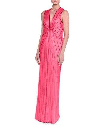 Sleeveless+V-Neck+Pleated+Knit+Gown,+Fuchsia+by+Missoni+at+Neiman+Marcus.