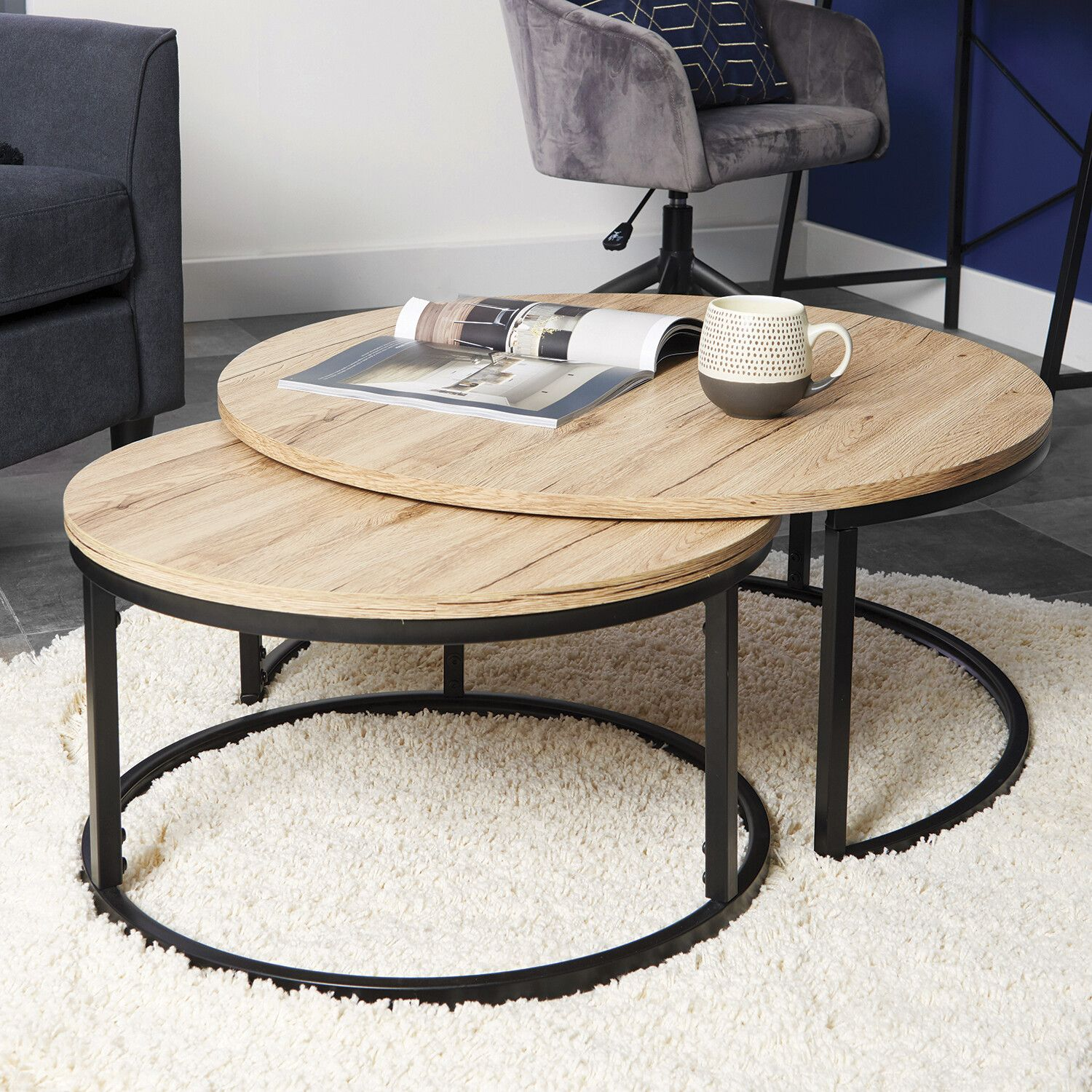 Set Of 2 Marseille Round Coffee Tables Coffee Table Living Room Modern Living Room Coffee Table Champagne Living Room [ 1500 x 1500 Pixel ]