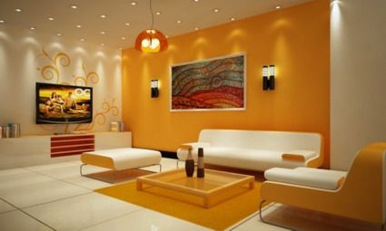 Living Room Design Ideas Orange Walls yellow-orange walls | bright yellow and orange with abstract art