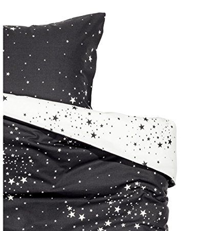 Galaxy Space Star Print Duvet Cover And Pillowcases Set Twin Full Queen Or King Reversible Black And White M Modern Bed White Linen Bedding Duvet Cover Pattern