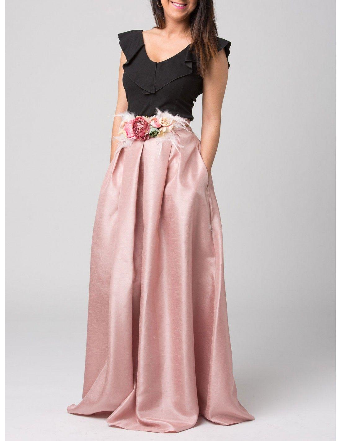 abf73ac8a Falda Zaida - Falda larga de tafetán en color rosa. Bolsillos ...