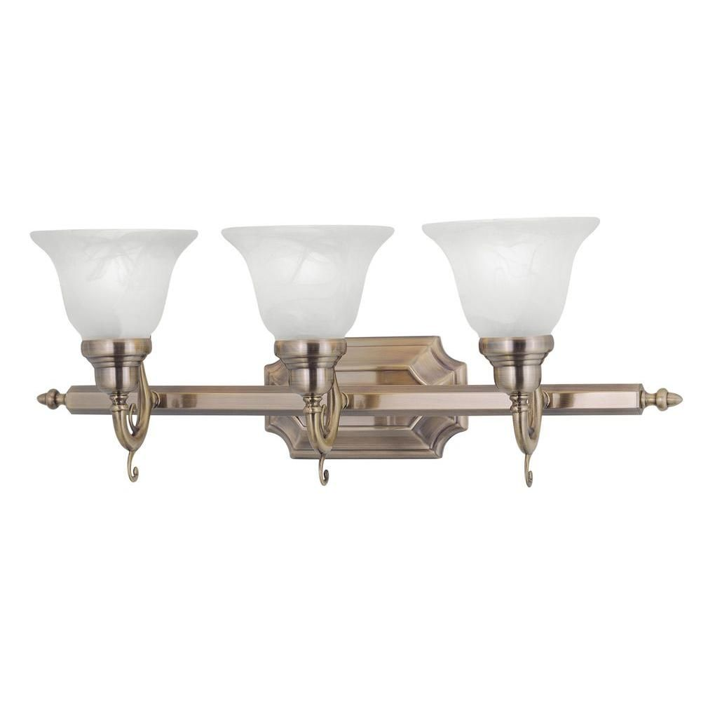 Photo of Livex Lighting 3-light bathroom lamp made of antique brass with white alabaster glass 1283-01 – The Home Depot