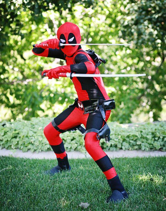 custom premium child teen adult deadpool costume includes accessories dead pool men kid swords gun halloween
