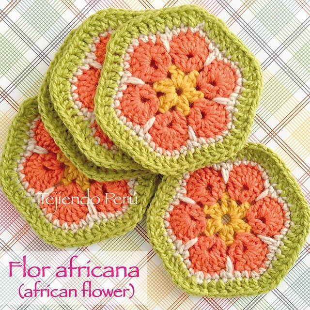 Crochet: flor africana tejida a crochet! Diagrama o patrón :) | Del ...