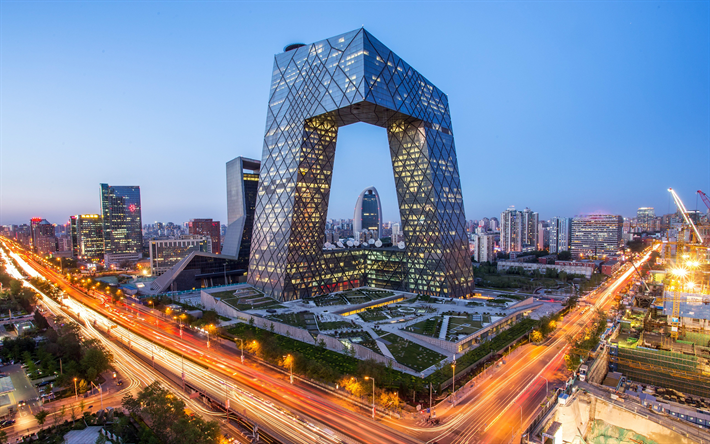 Download Wallpapers CCTV Building Beijing 4k Modern Architecture Skyscrapers Unusual Buildings China Evening City Lights