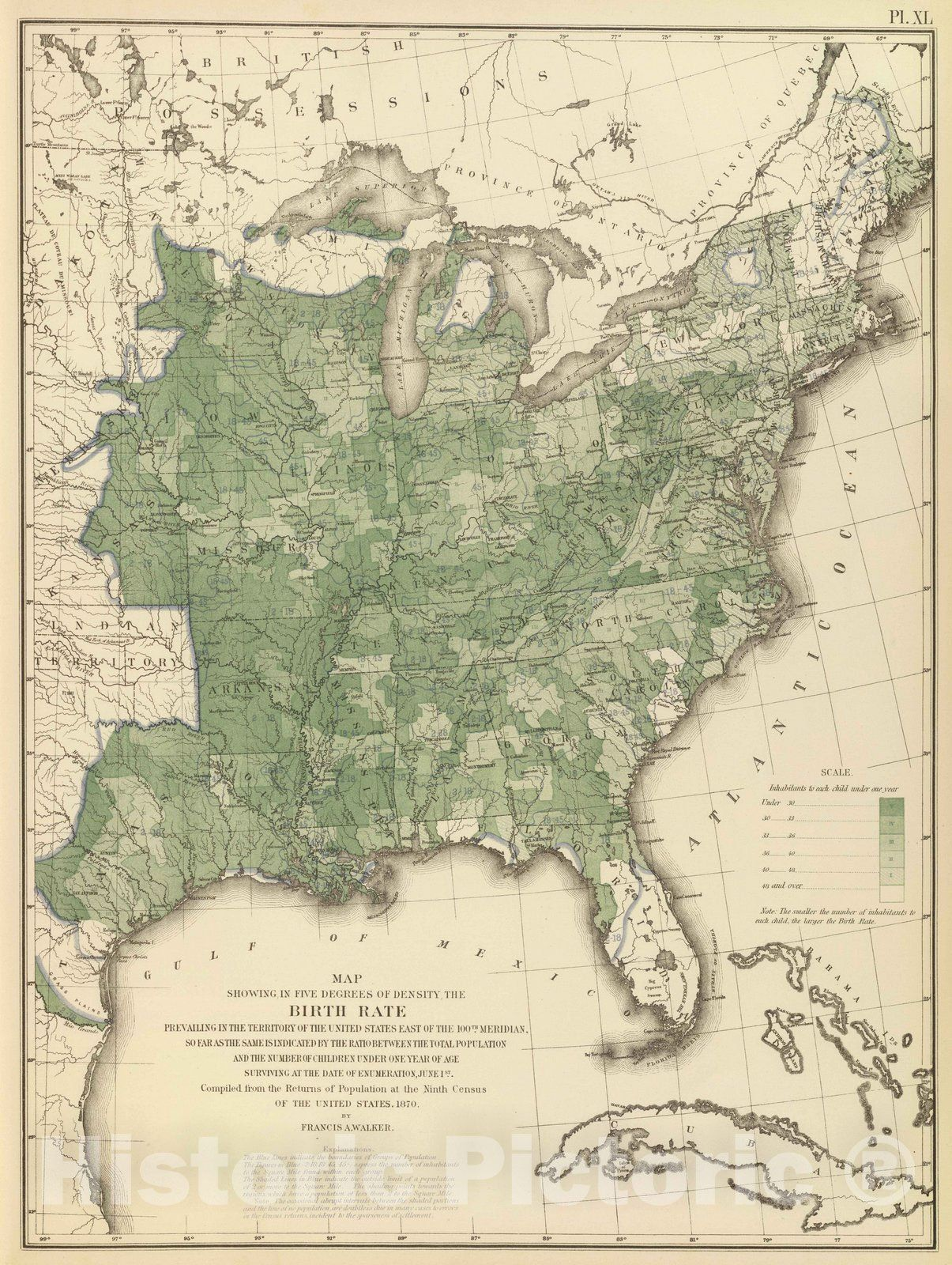 Historic Wall Map : Statistical Atlas - 1874 Birth rate US. - Vintage Wall Art