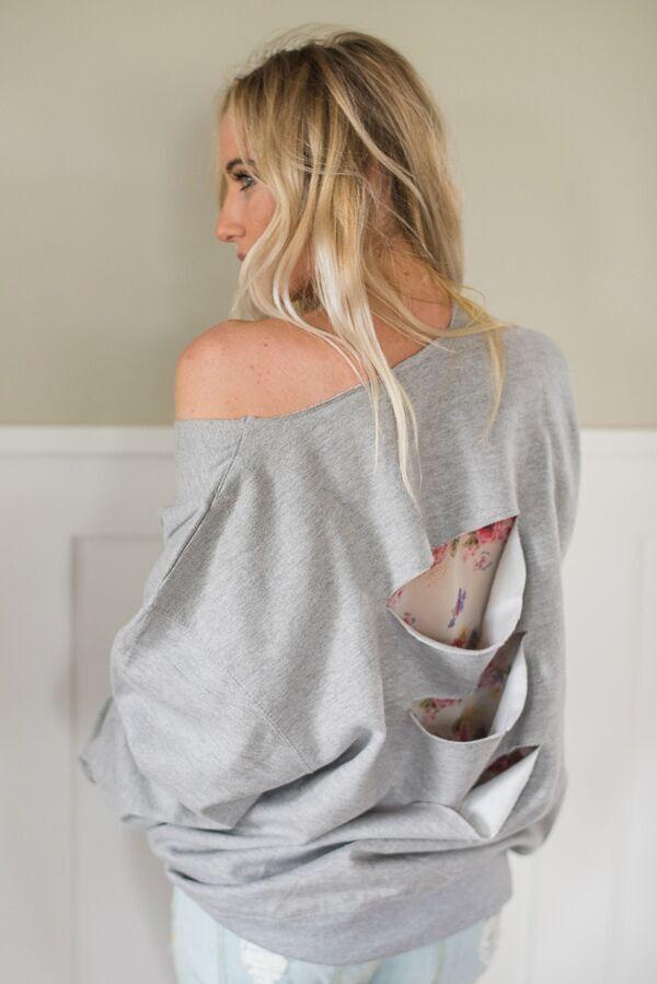 Floral Accent Slash Back Sweatshirt