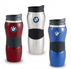 97233893161 BMW Stainless Steel Gripper Travel Mug - Insulated 15 oz. stainless steel  tumbler features soft silicon rubber gripper band, push on/off lid and  non-skid ...