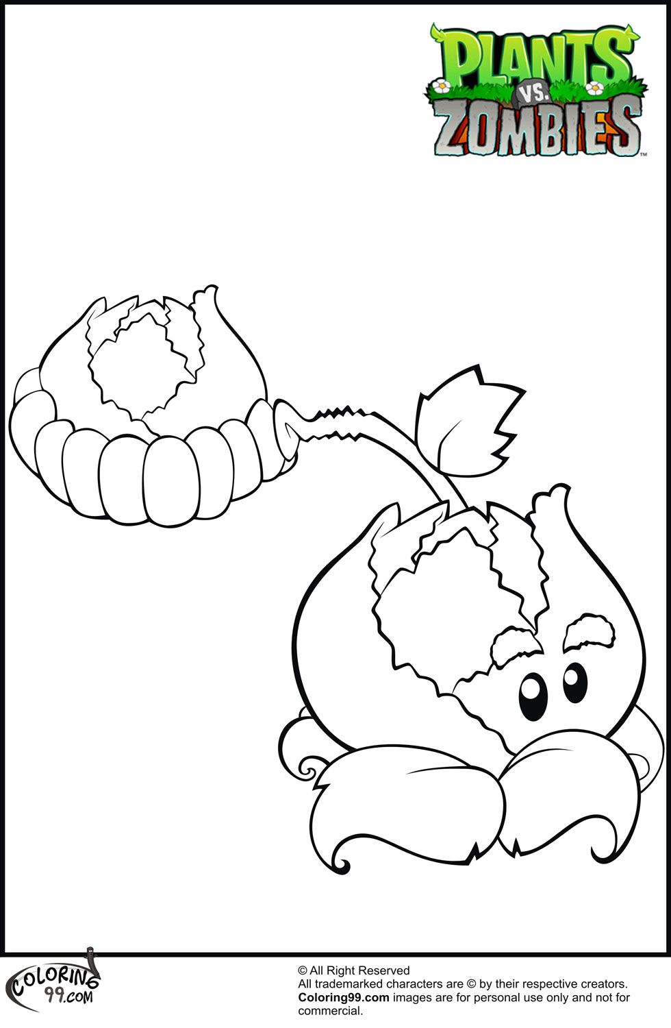 Plants v zombies coloring pages - Cabbage Pult Plants Vs Zombies Coloring Pages Jpg