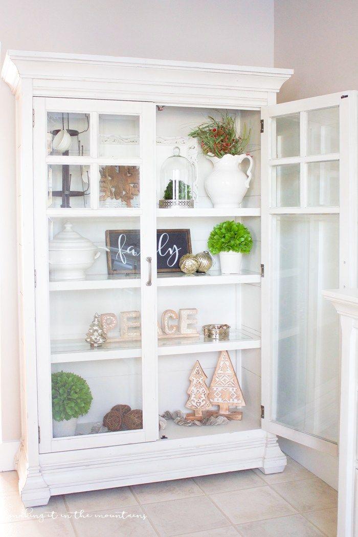Farmhouse Style Christmas Curio Cabinet | DIY ideas, Funky junk and ...