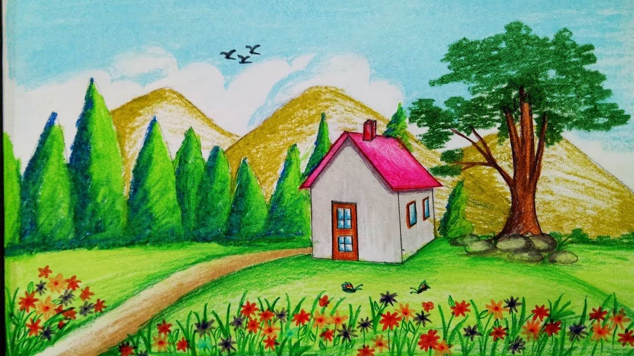 How To Draw Spring Season Scenery With Oil Pastel.Step By