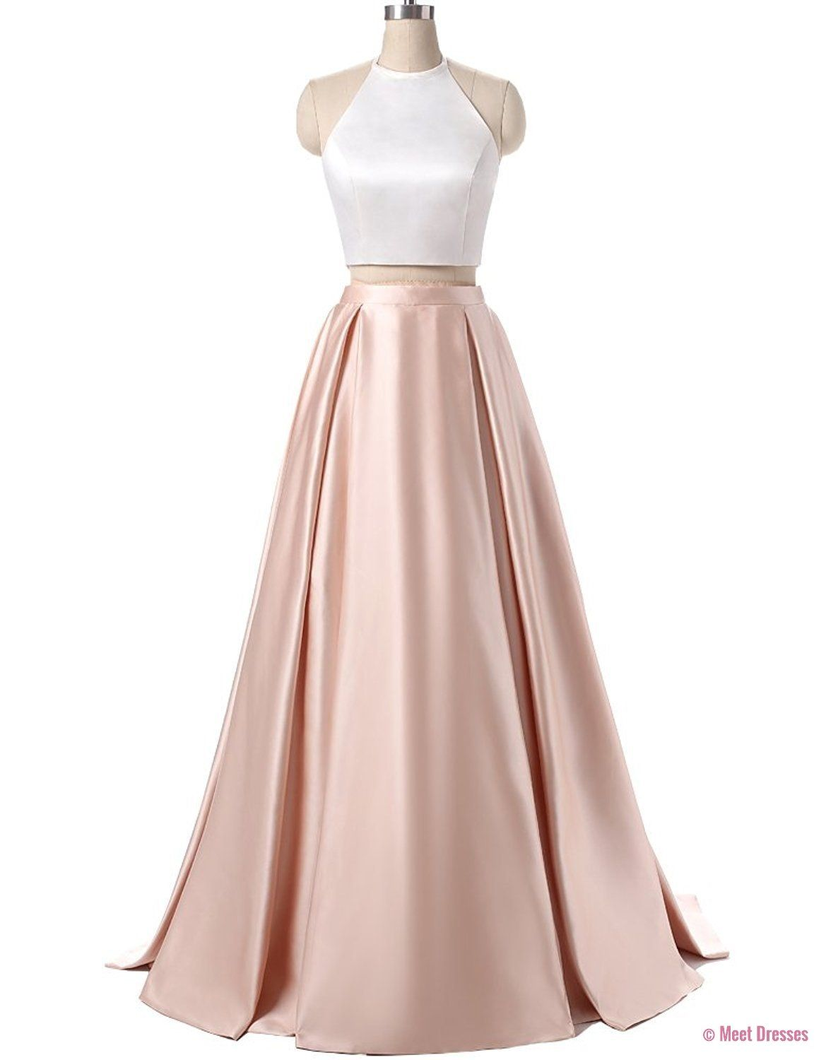 Charming Formal Halter Two Pieces Prom Dress Party Gowns With Pockets Light Pink Prom Dress Si Pink Prom Dresses Backless Prom Dresses Light Pink Prom Dress [ 1500 x 1169 Pixel ]