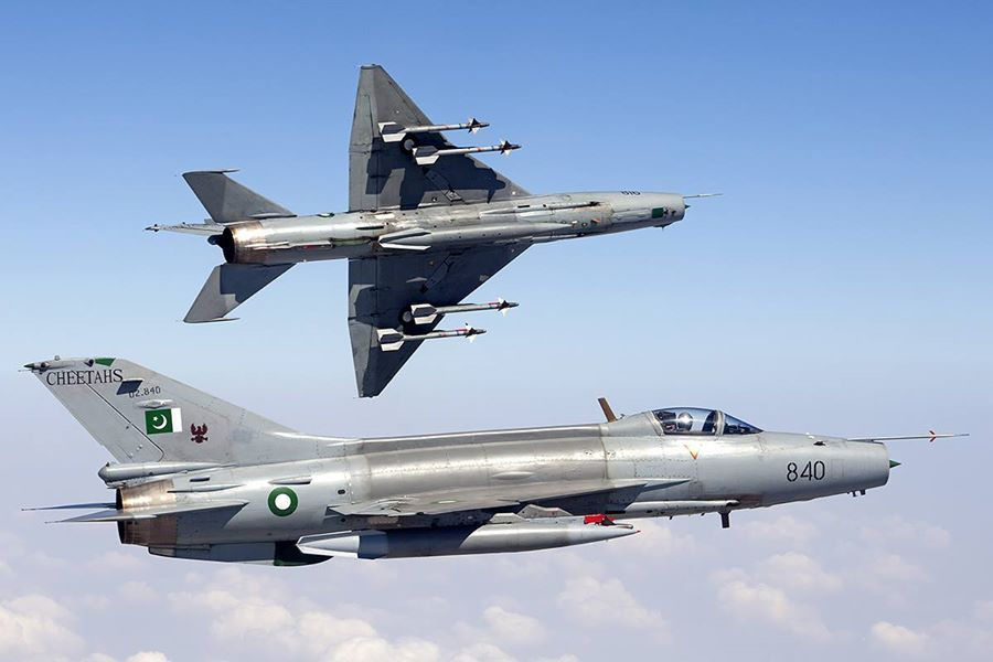 Two Pakistan Air Force F-7PGs, a modern version of the J-7, in flight over Pakistan (September 2013).
