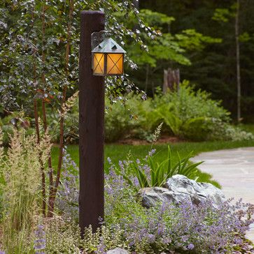 Exterior Wall Light Mounted On Log Post Rustic Outdoor