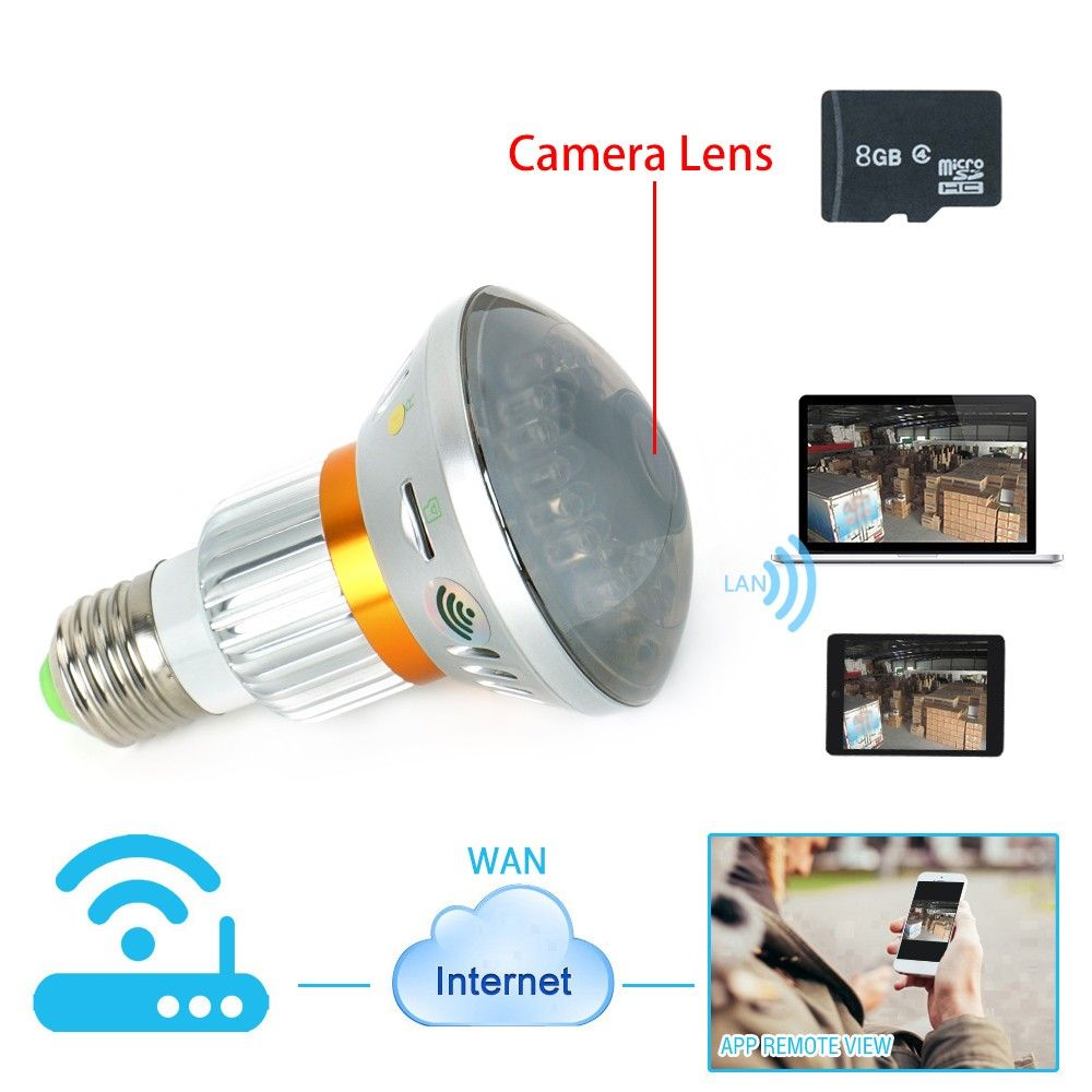 136 Wiseup Wifi Network Spy Camera Led Bulb Support Iphone Android App Remote View Ir Night Vision No Real Light Emitting Ledbulb Led Bulb App Remote Bulb