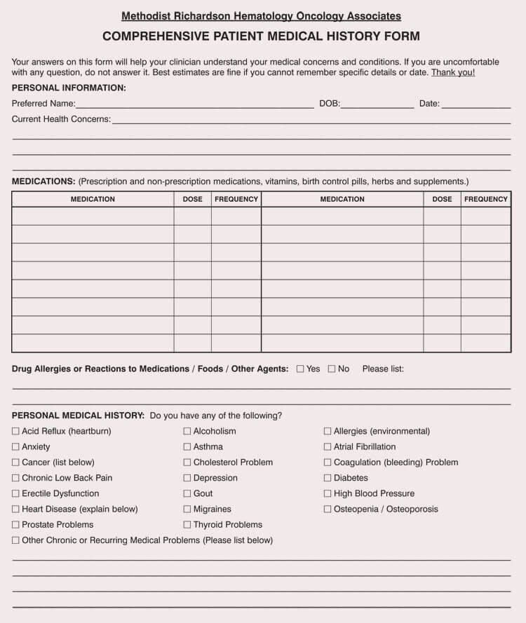 30 Medical Form Templates Microsoft Word In 2020 Patient History