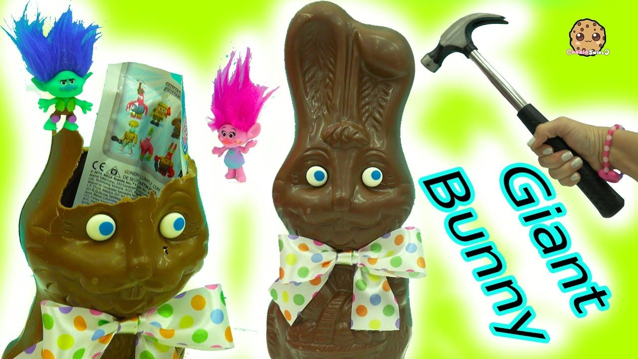 hammer smash giant chocolate bunny with surprise blind bags easter diy chocolate bunny easter diy giant chocolate pinterest