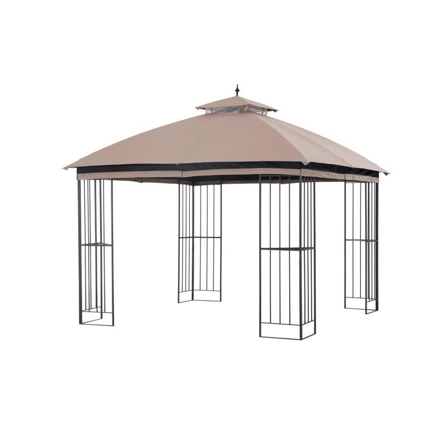 Garden Treasures Brown Metal Square Semi Gazebo Exterior 10 83 Ft X 10 83 Ft Foundation 9 84 Ft X 9 84 Ft Lowes Com Gazebo Accessories Gazebo Small Backyard Patio