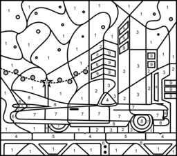 Elvis Car Printable Color By Number Page Hard Coloring Pages Color Art