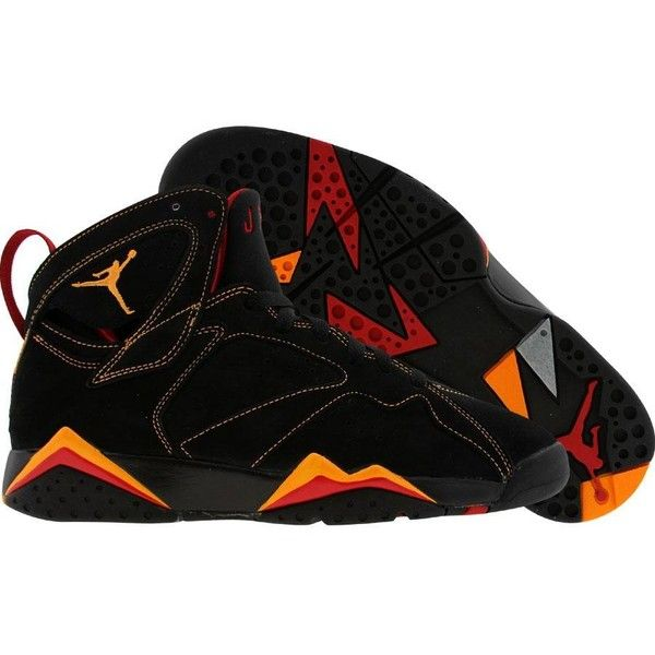 brand new 5a53b 57742 Nike Air Jordan 7 VII Retro (black citrus varsity red) Shoes ( 130) ❤ liked  on Polyvore featuring shoes, jordans, sneakers and nike