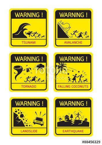 Natural Disaster Warning Signs Family Running Caution Danger