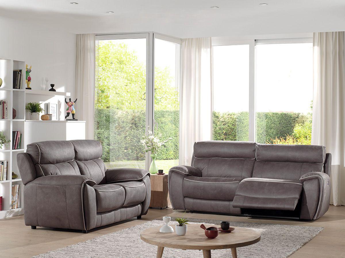 11916 Propose En Cuir Ou En Tissu Ce Salon 11916 Allie Le Confort Et Le Style In 2020