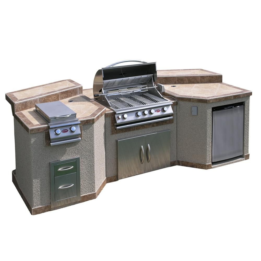Cal Flame 3 Piece Island With 4 Burner Bbq Grill And Rotisserie E3100 The Home Depot Outdoor Kitchen Island Outdoor Refrigerator Kitchen Island Frame