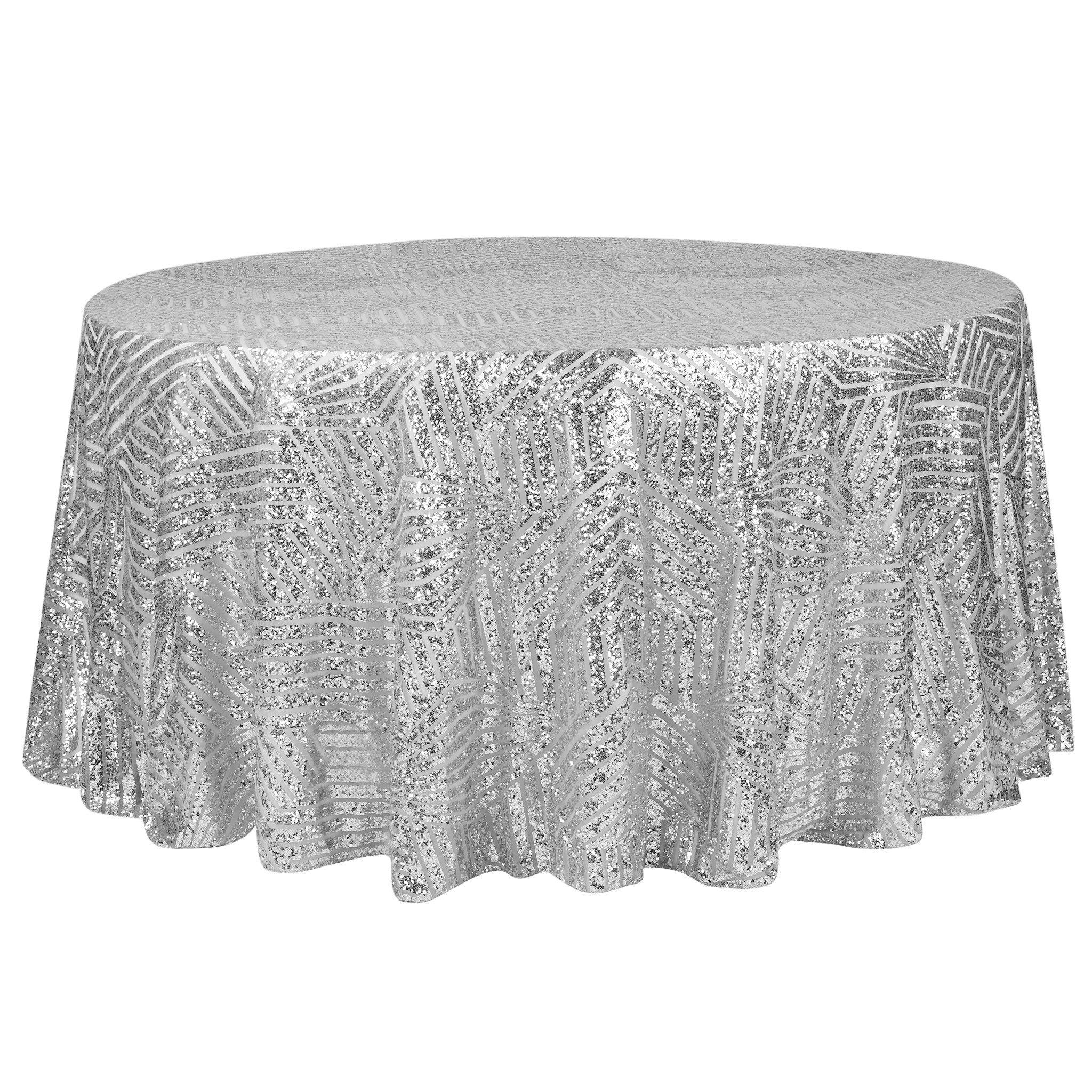 Geometric Glitz Art Deco Sequin Tablecloth 120 Round Silver Cv