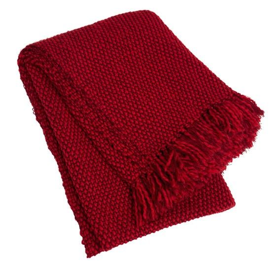 Country House Throws | Red Woven Woollen Throw | Decorative Throws | Home  Accessories | PHOTO