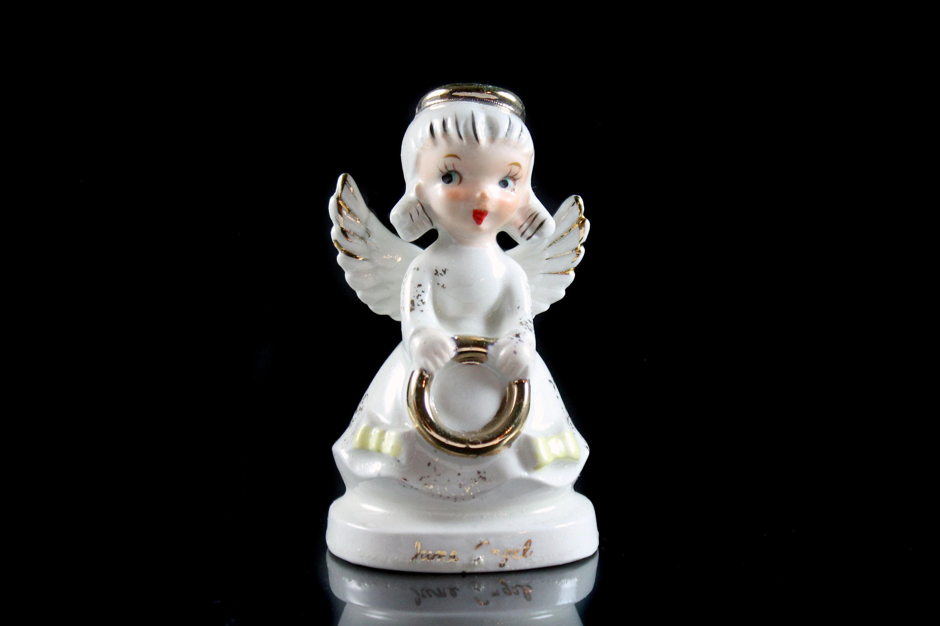 Angel Figurine, June Angel, Birthday Month, Collectible, Porcelain, Angel with Bouquet, Artmark #birthdaymonth