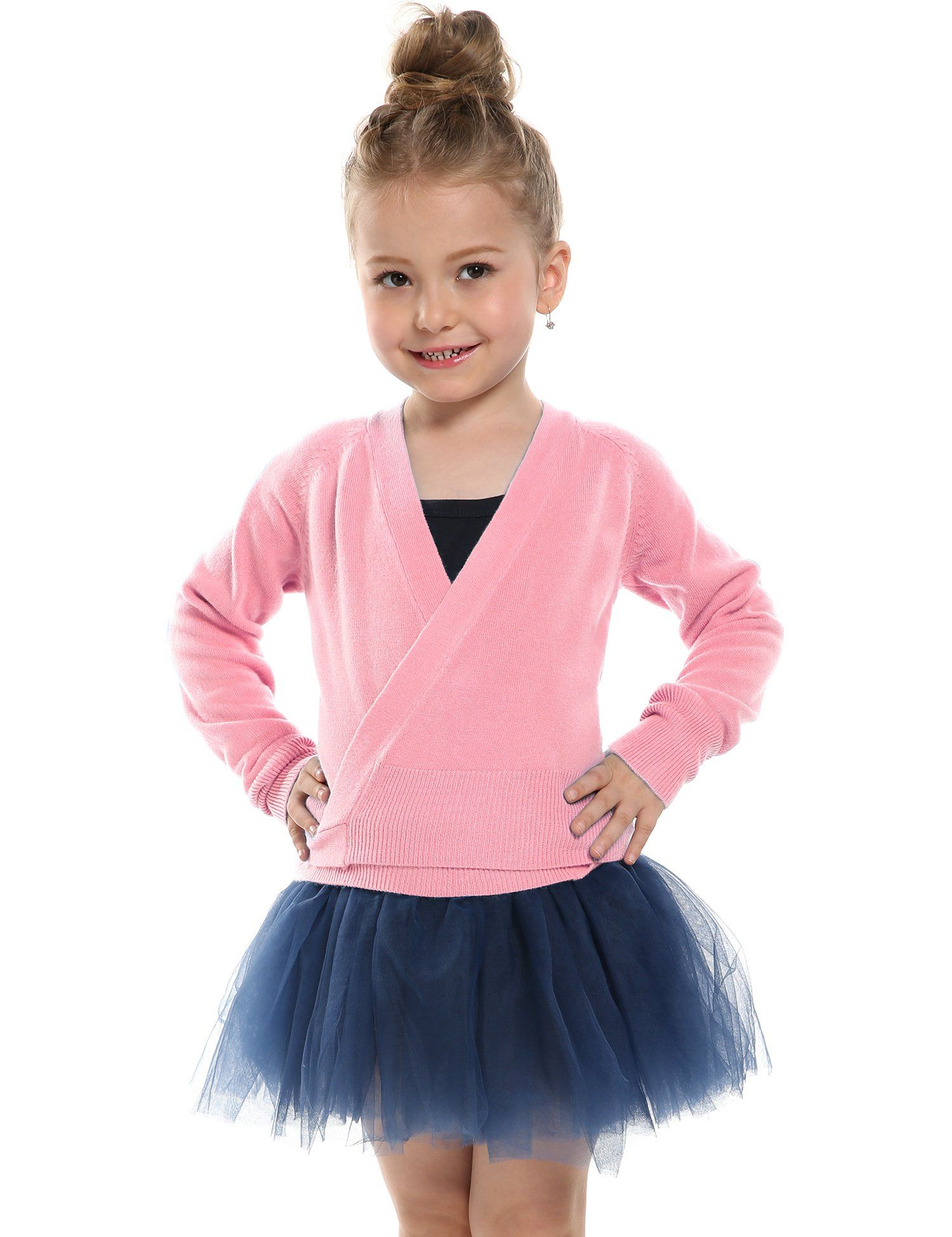Lisianthus Girls Classic Thick Ballet Long Sleeve Wrap Top