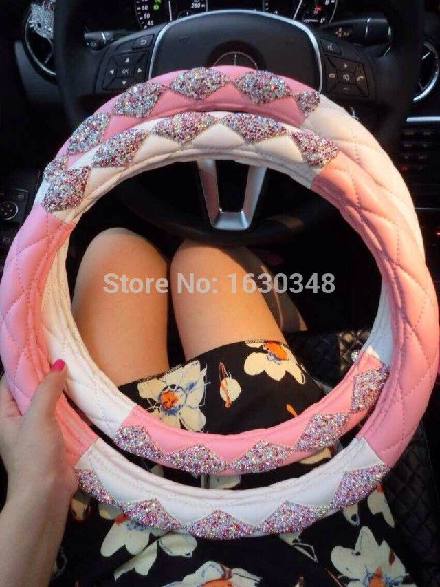 Find More Steering Covers Information About Glitter Real Leather Wheel Cover Car Accessories Bling Rhinestone Unique