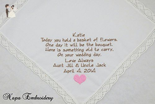 Flower Girl Personalized Wedding Handkerchief keepsake gift for Flower Girl custom  embroidered hanky by Napa Embroidery