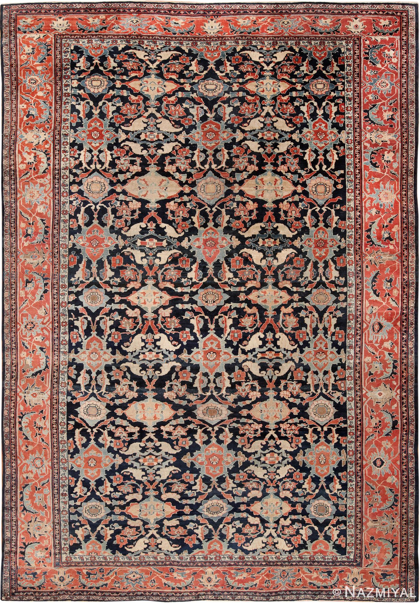 View this exciting large size navy blue antique persian sultanabad rug 49678 which is available for sale at nazmiyal antique rugs located in the heart of