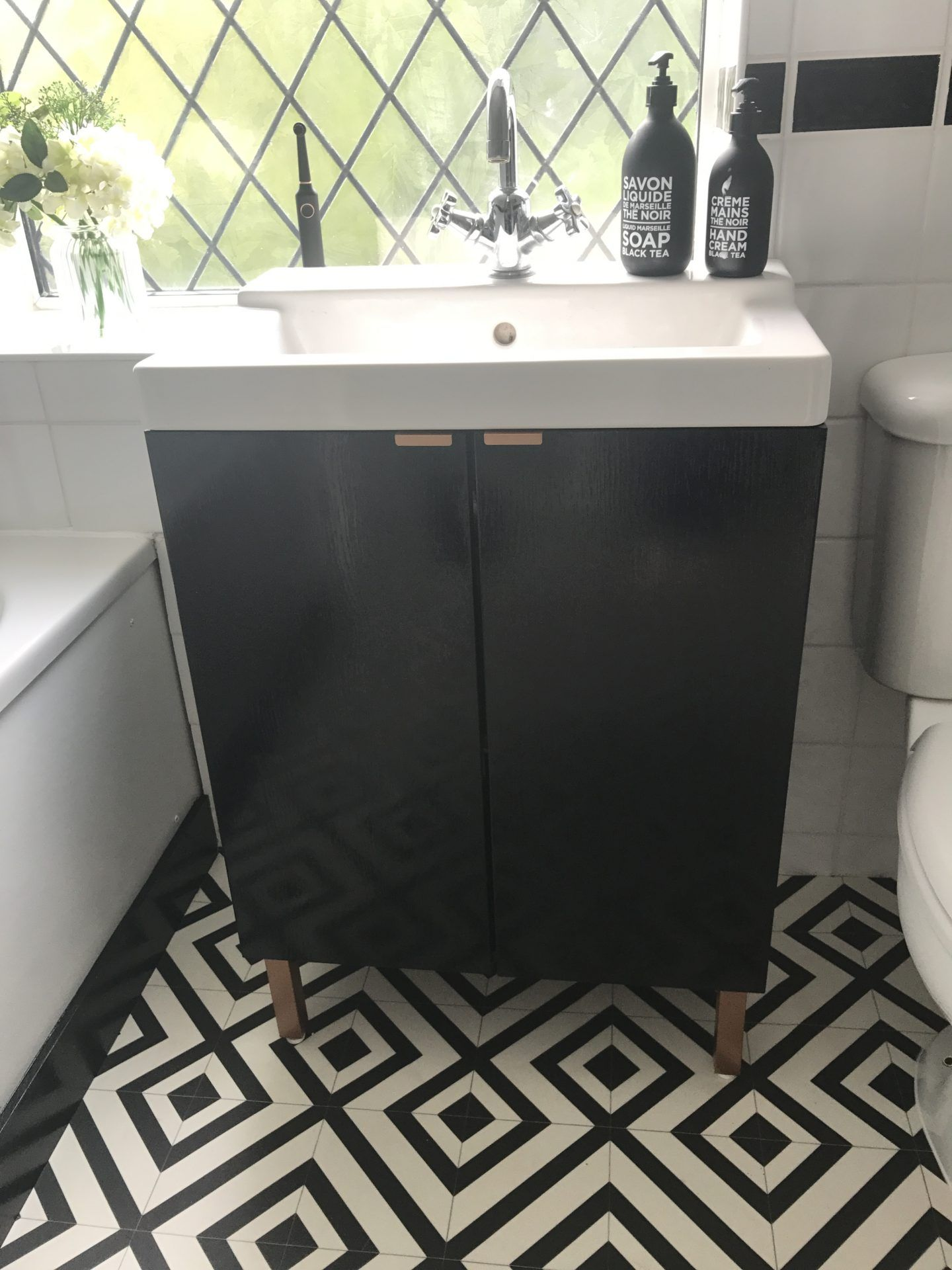 Diy Ikea Hack Bathroom Sink Cupboard Lillangen Wash Basin Black Paint And Spray Painted Legs Ikea Hack Bathroom Ikea Vanity Trendy Bathroom