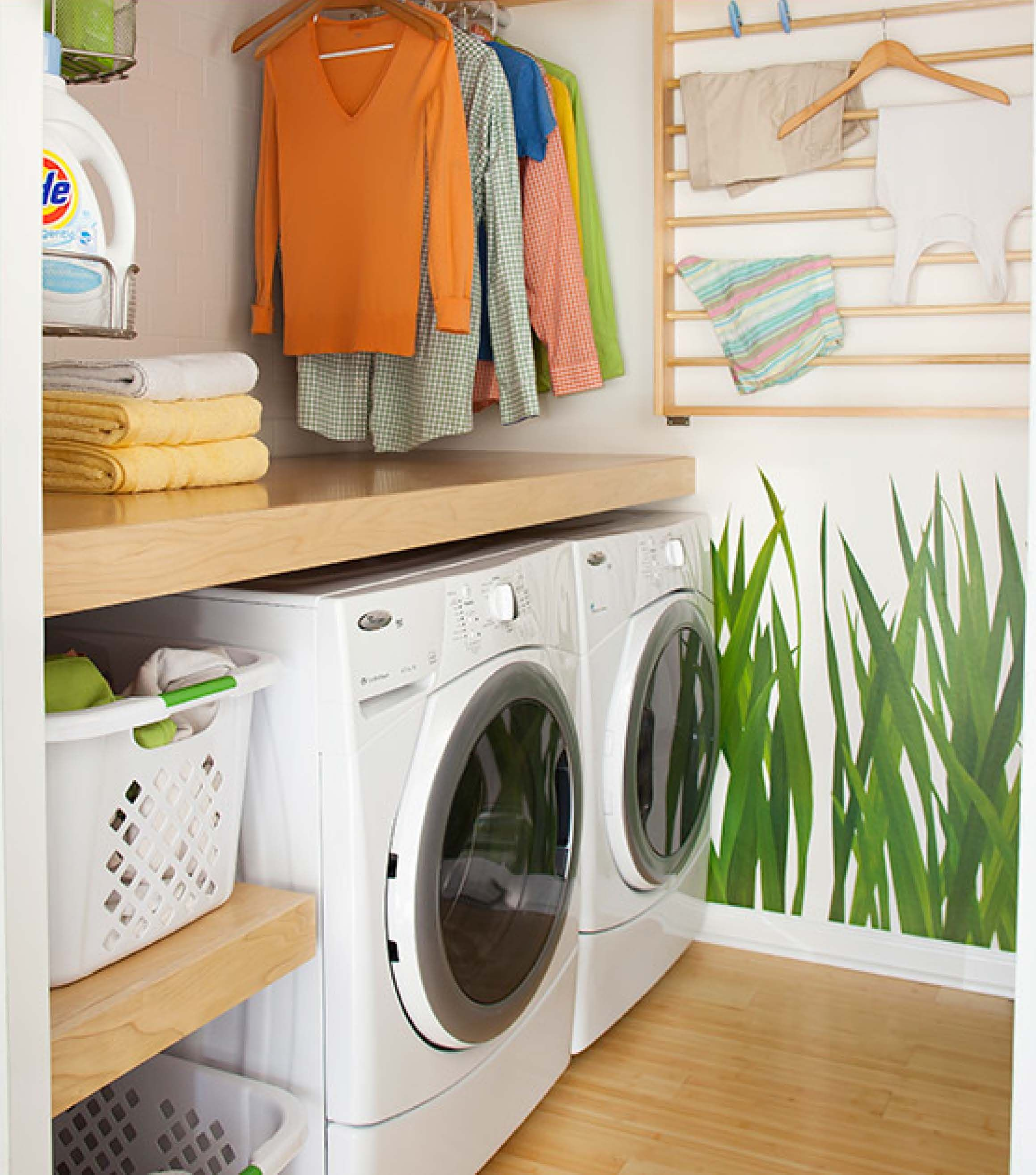 shelf for folding above washer dryer & bar above for hanging clothes