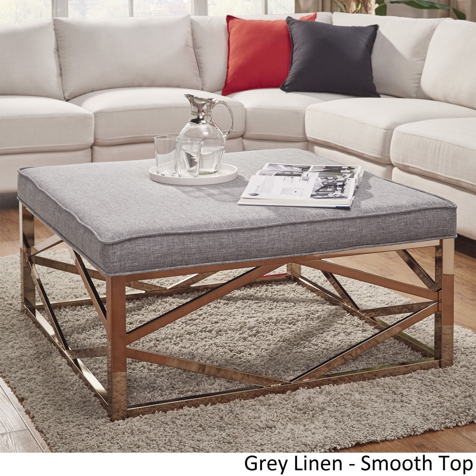 Solene Geometric Base Square Ottoman Coffee Table - Champagne Gold by  iNSPIRE Q Bold ([Beige Linen]- Smooth Top), Size Medium (Fabric)