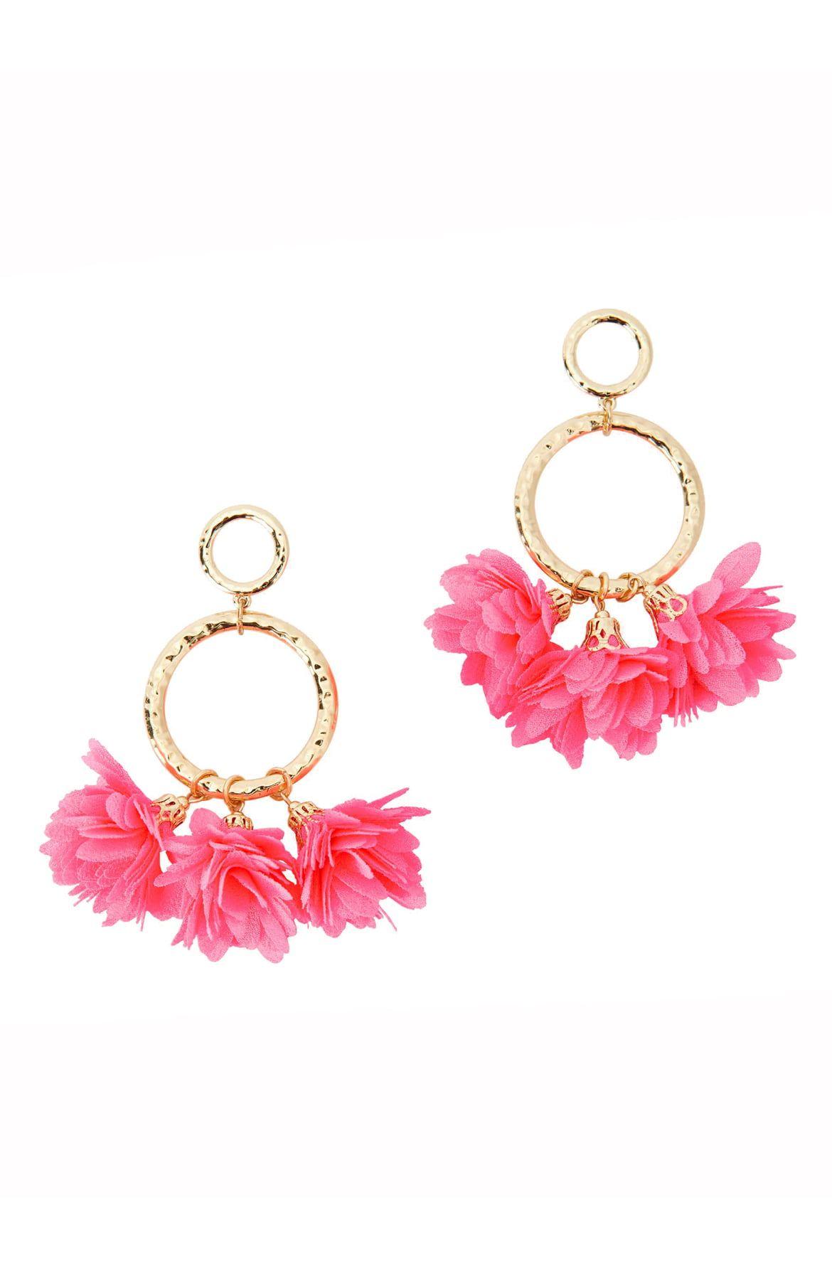 Cascading Petals Hoop Earrings Pink Tropics Lilly Pulitzer Jewelry Trends Earrings