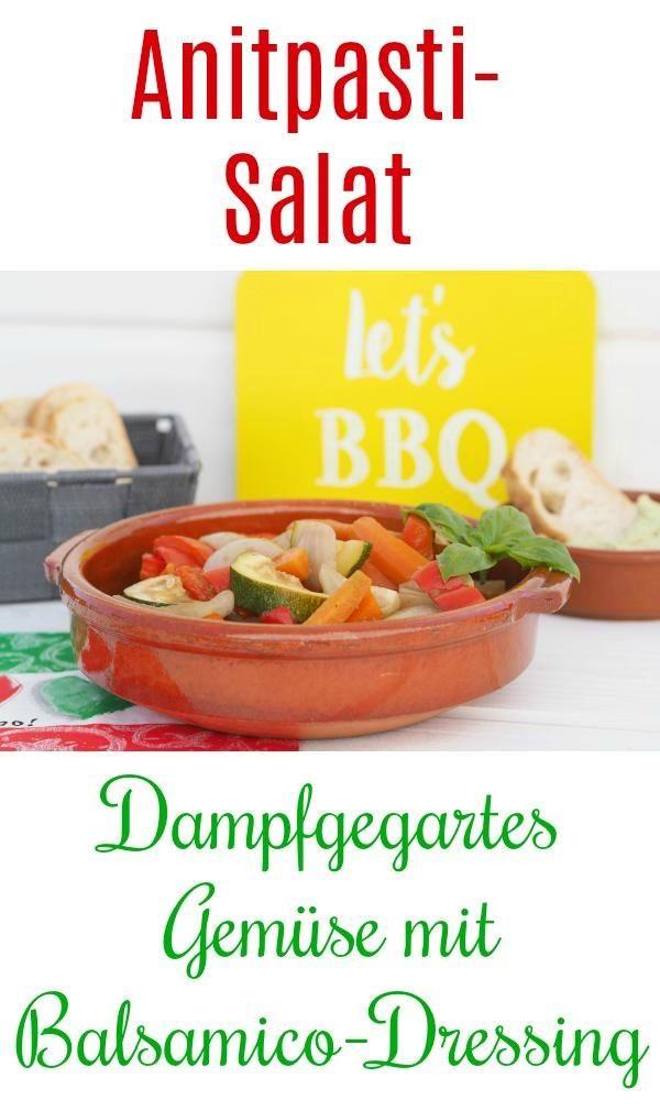 Habt Ihr schon einmal Antipasti selbst gemacht? Der vegane Antipasti – Salat (Low-Carb) ist sehr lecker und sehr schnell hergestellt. Gemüse im Thermomix dampfgaren (oder im Backofen garen) und danach ganz fix ein leckeres Balsamico – Dressing hergestellt. Der Renner beim Grillen oder Parties. Auch im Winter schmeckt dieser Salat wunderbar.   #antipasti #gemüse #thermomix